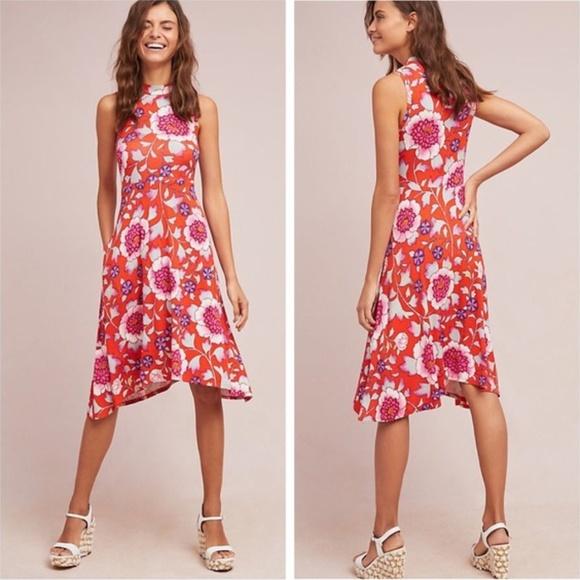 1797b709edbb Anthropologie Dresses | Maeve Cleary Red Floral Dress | Poshmark